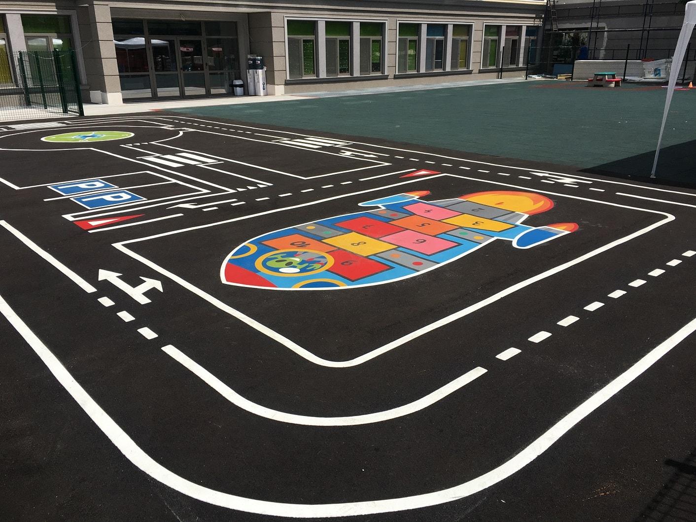 Игри за детски площадки куцанка ракета и площадка по безопасност на движението от термопластик