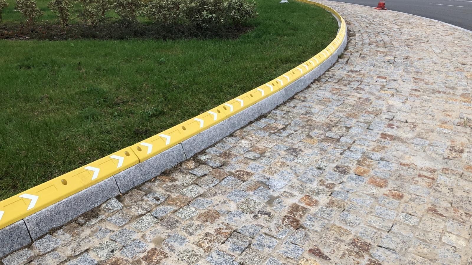 Гумени бордюри жълти за предпазване на гумите кръгово кръстовище